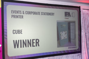 Irish Print Awards 2017 Events and Corporate Stationary Printer of the year winner CUBE